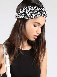 Floral Loop Headband BLACK