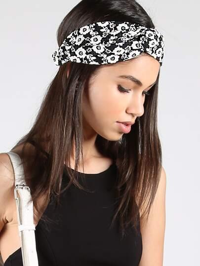 Floral Loop Headband BLACK