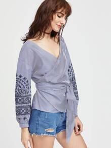 Blue Embroidery Striped Wrap Blouse With Self Tie