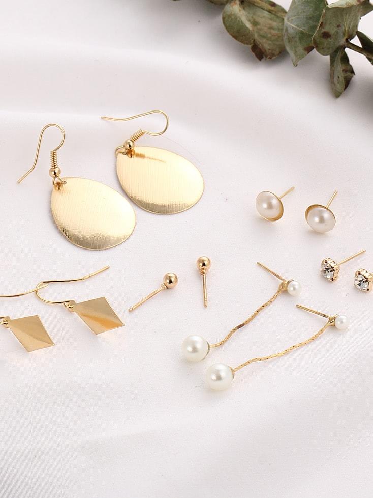 Faux Pearl Geometric Stud And Drop Earring Set artificial pearl rhinestone flower stud earring set