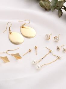 Faux Pearl Geometric Stud And Drop Earring Set