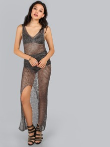 Backless Netted Lurex Slit Dress DARK GREY