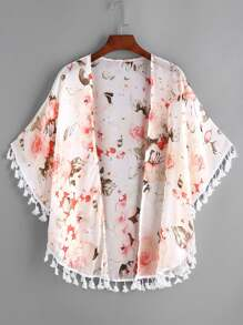 Weißer Blumendruck  Chiffon Kimono mit Fransen
