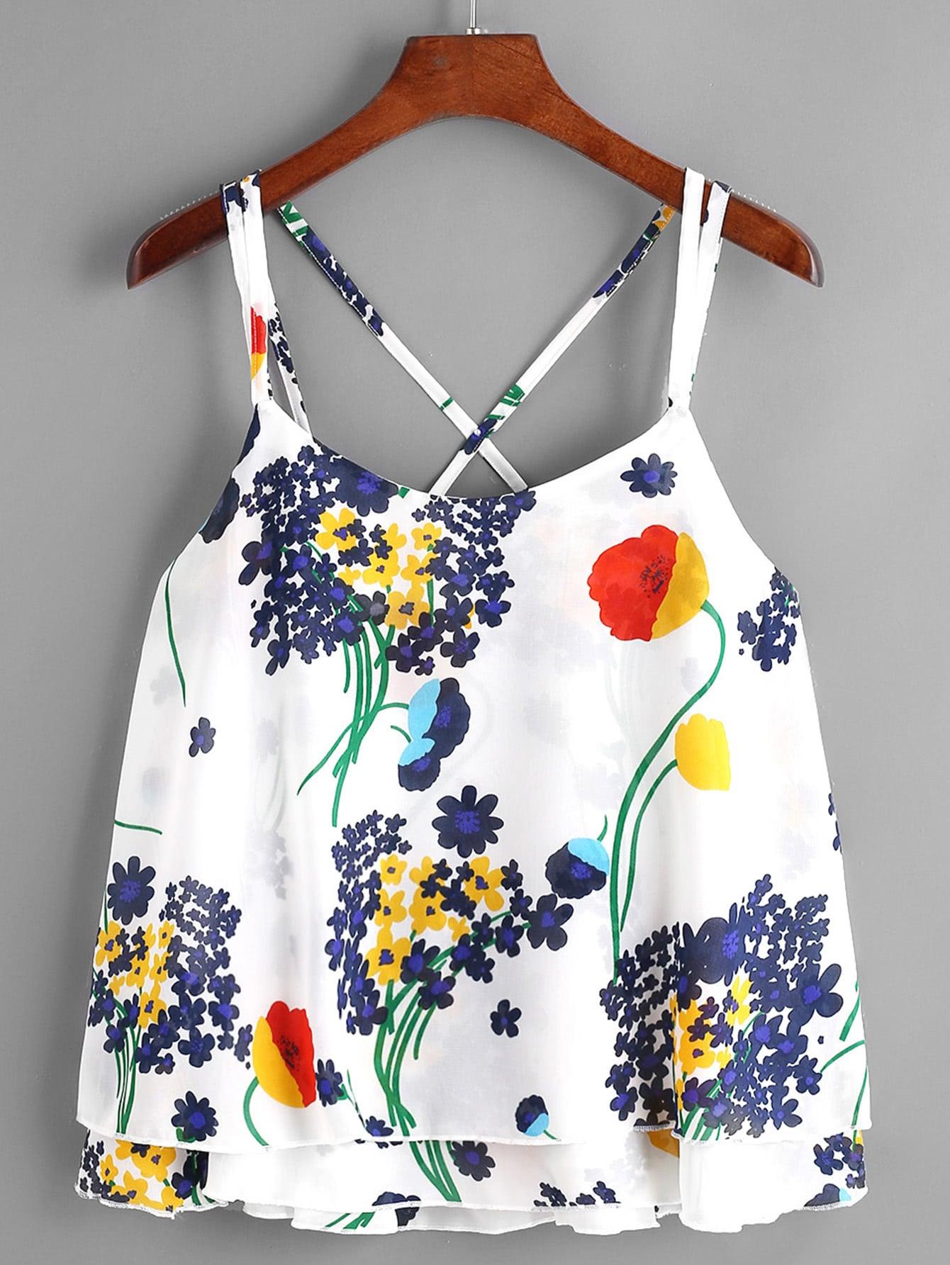 Фото Floral Print Layered Chiffon Cami Top. Купить с доставкой