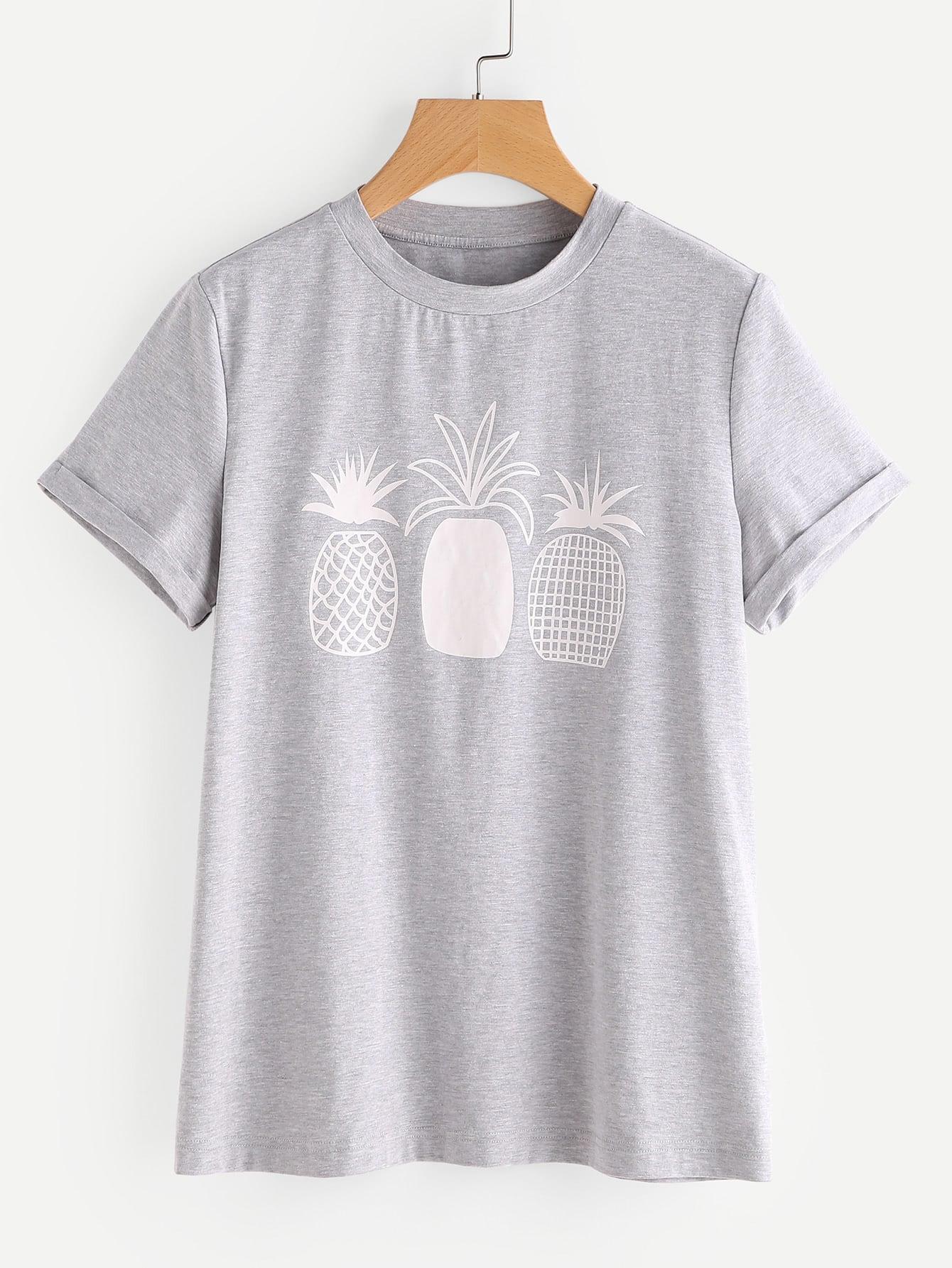 Серая модная футболка с принтом SheIn