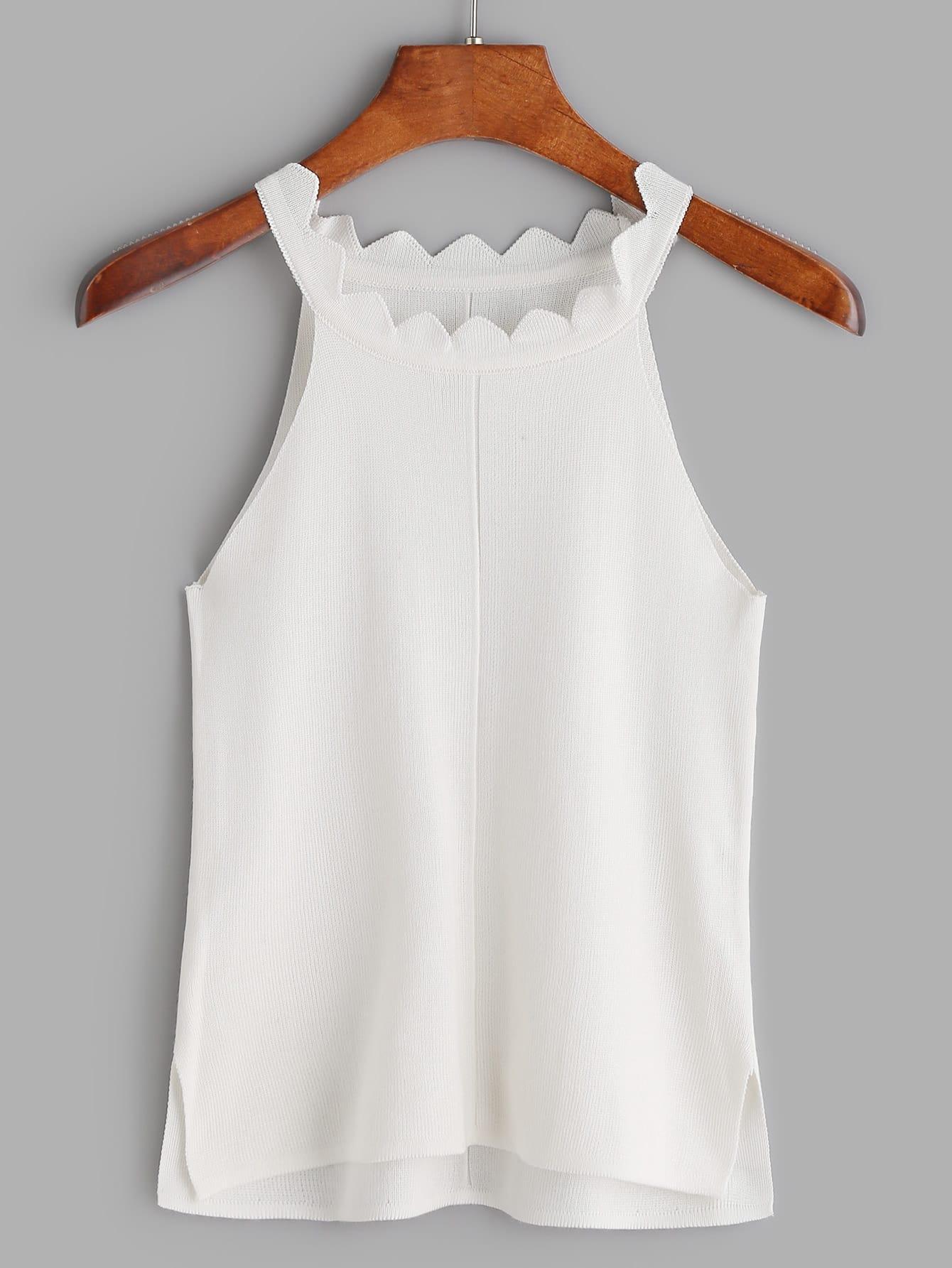 Фото White Knit Scallop Detail Slit Side Tank Top. Купить с доставкой