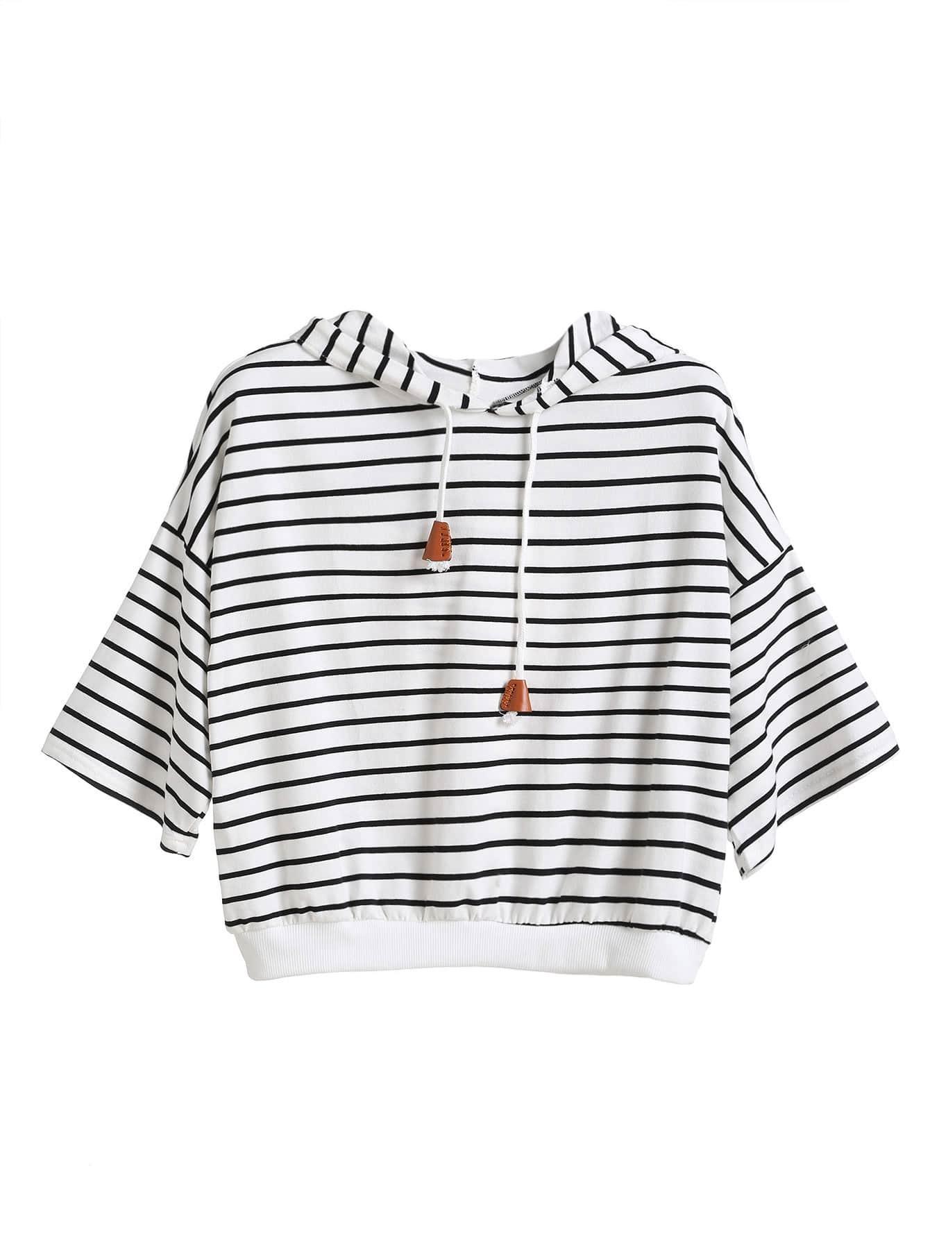 Фото Hoodie Dropped Shoulder Seam Drawstring T-shirt. Купить с доставкой