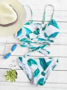 Blanc, feuille, impression, envelopper, détail, bikini, ensemble