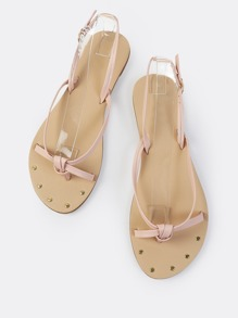 Thong Knot Sling Back Sandals BLUSH