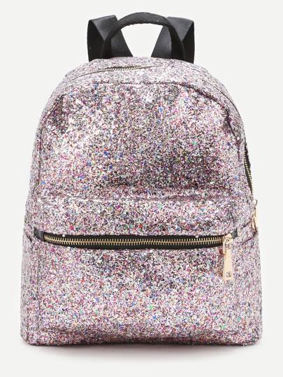 Pink Front Zipper Glitter Backpack