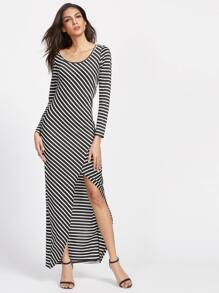 Contrast Striped Slit Hem Dress