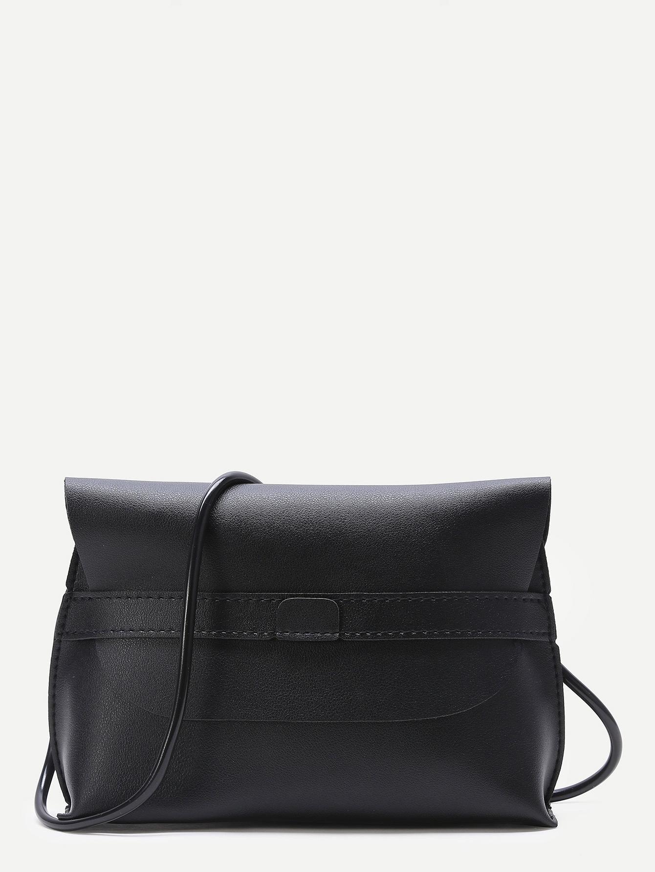 Фото Black Flap PU Crossbody Bag. Купить с доставкой