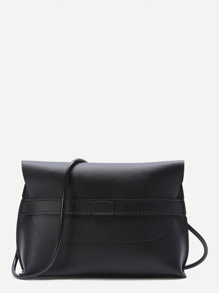 Black Flap PU Crossbody Bag
