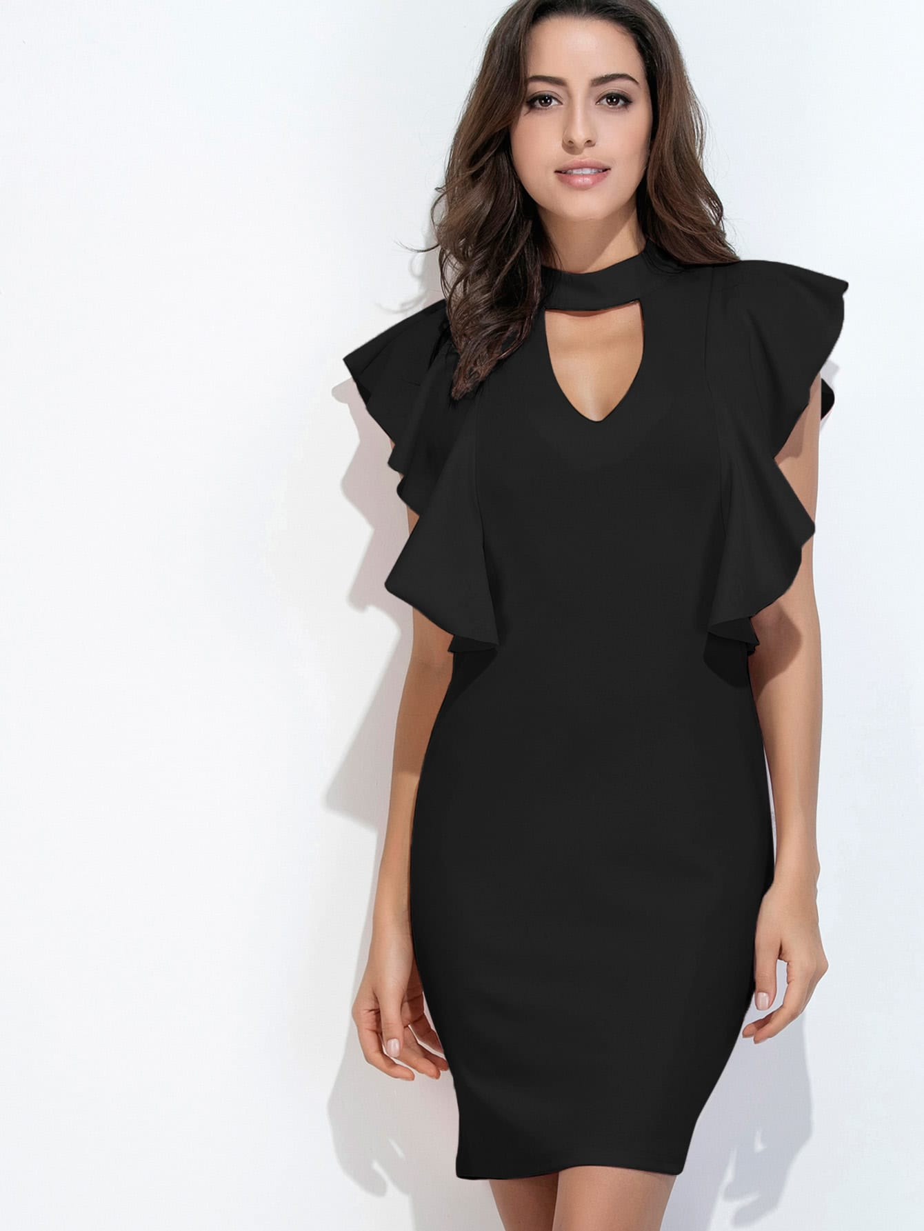 Фото Keyhole Front Frill Trim Slit Back Dress. Купить с доставкой