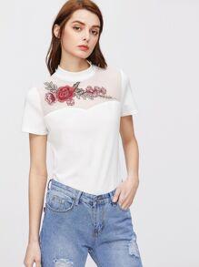 Rose Mesh Yoke Short Sleeve T-shirt