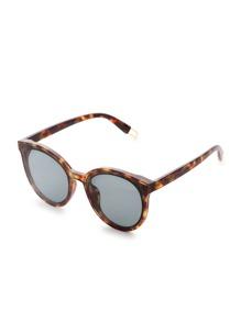 Gafas de sol ojo de gato con marco leopardo y lentes plateado