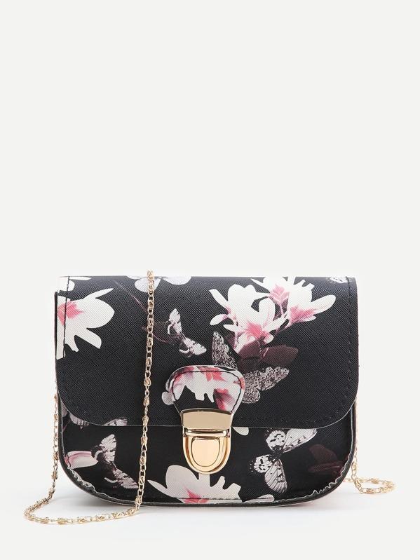Black Floral Print Chain Bag, null