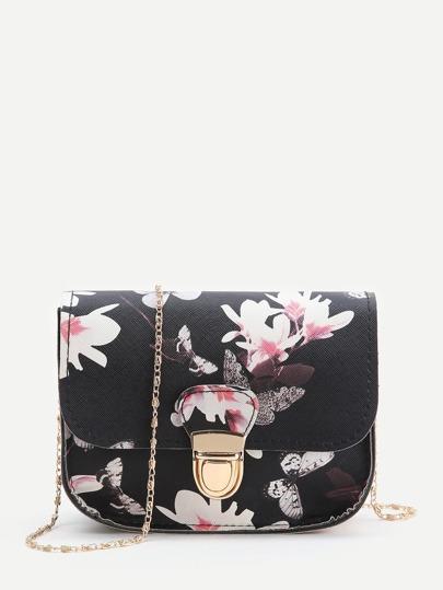 Black Floral Print Chain Bag