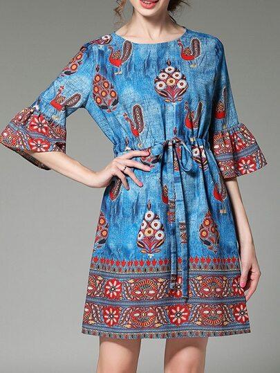 Vestido estampado manga campanuda y con cordón en cintura-azul