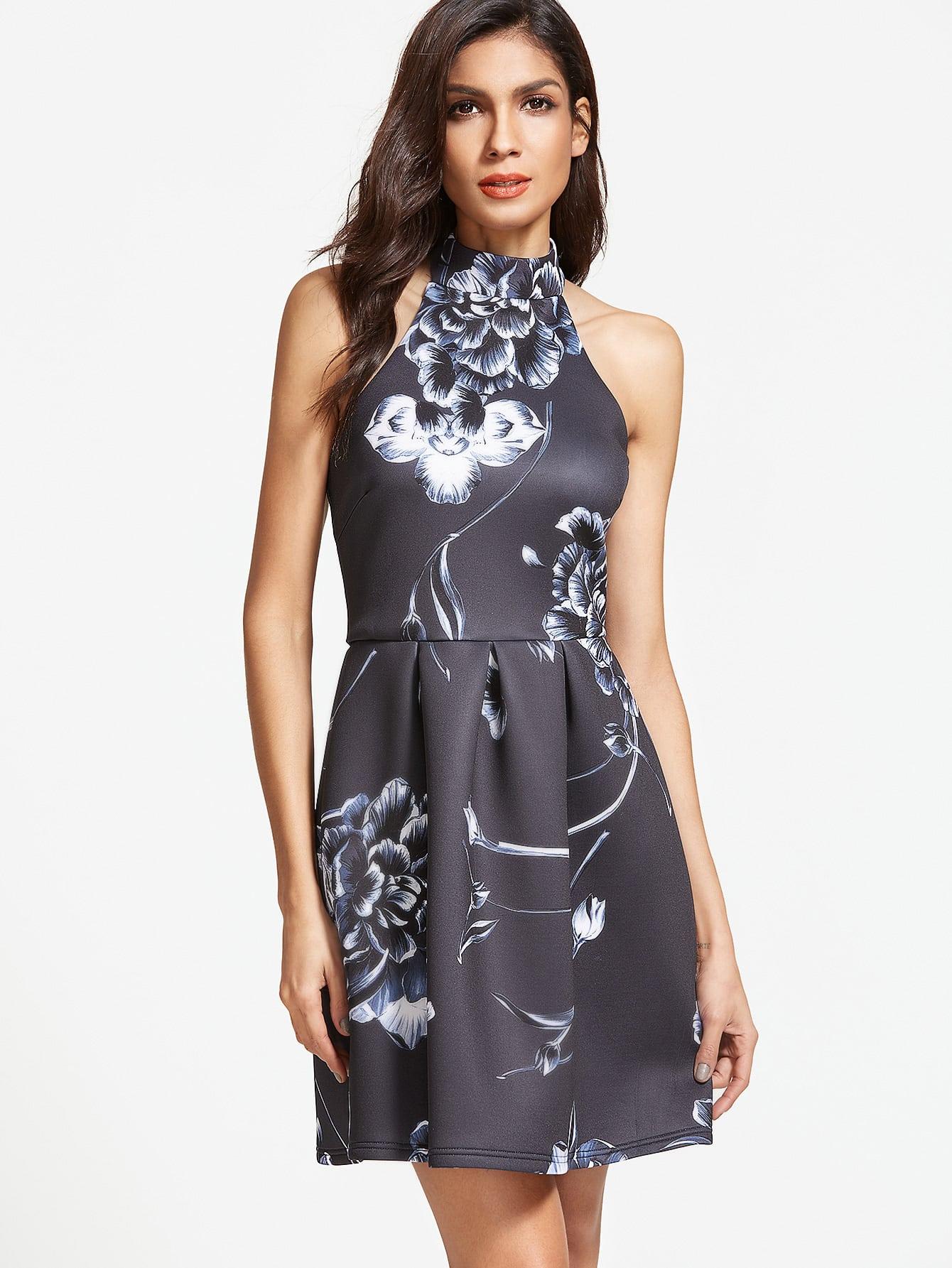 Фото Black Flower Print Box Pleated Halter Neck Dress. Купить с доставкой