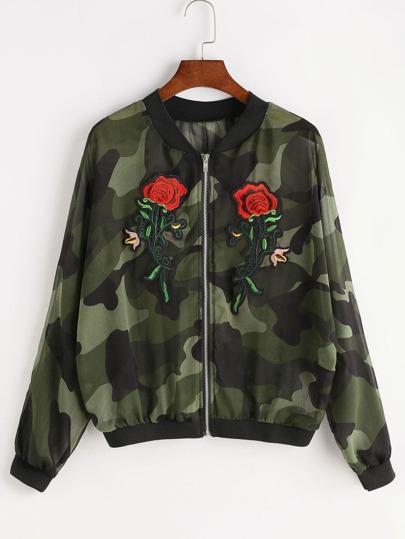 Contrast Ribbed Trim Camo Print Appliques Chiffon Jacket