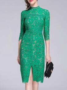 Green Split Lace Sheath Dress