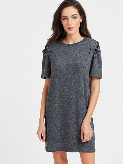 Marled Knit Lace Up Sleeve Tee Dress pictures