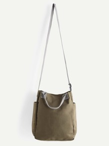 Green Canvas Crossbody Bag With Handle