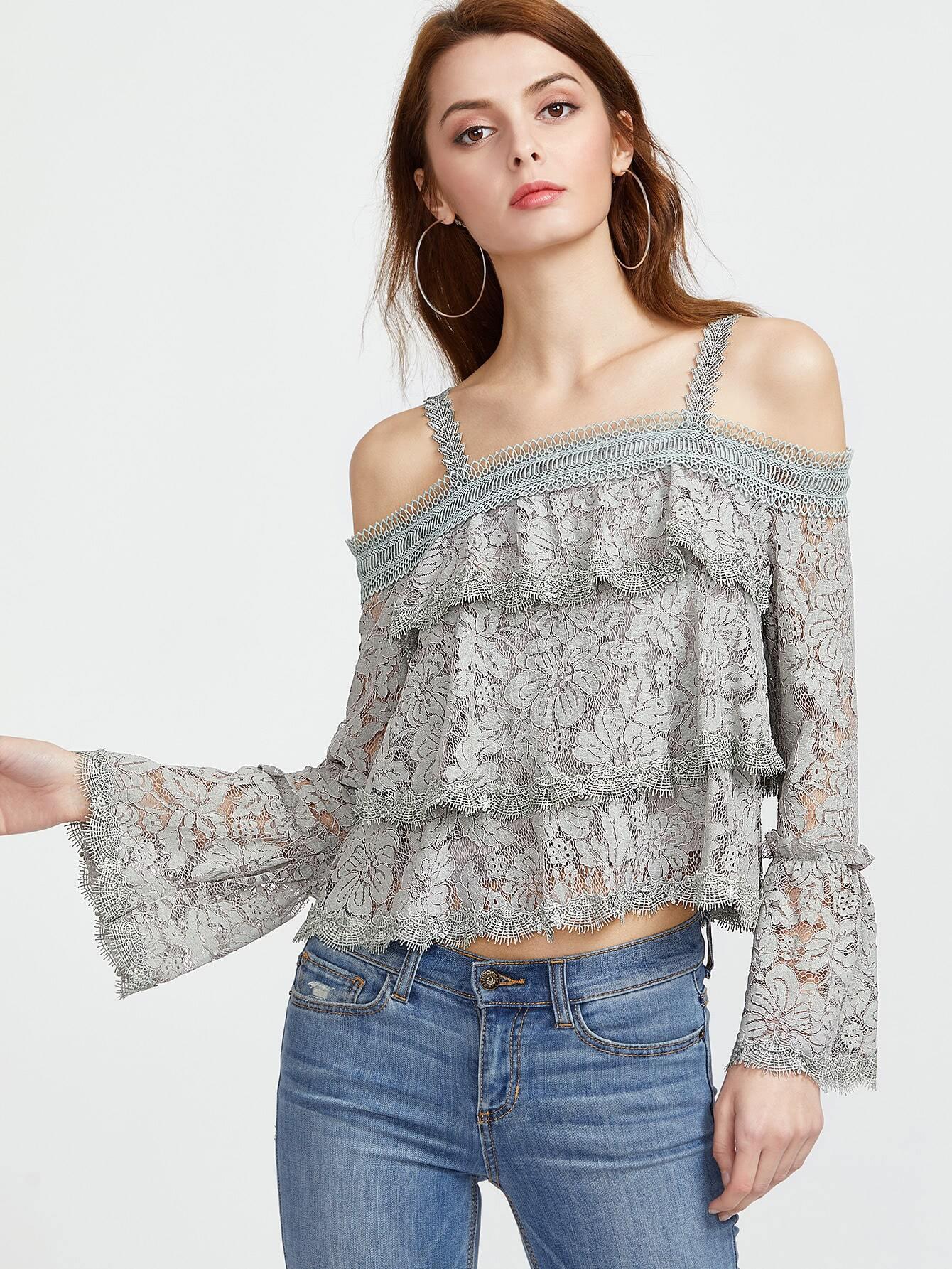 Фото Cold Shoulder Bell Sleeve Layered Floral Lace Top. Купить с доставкой