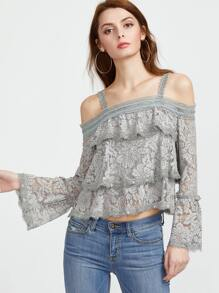 Cold Shoulder Bell Sleeve Layered Floral Lace Top