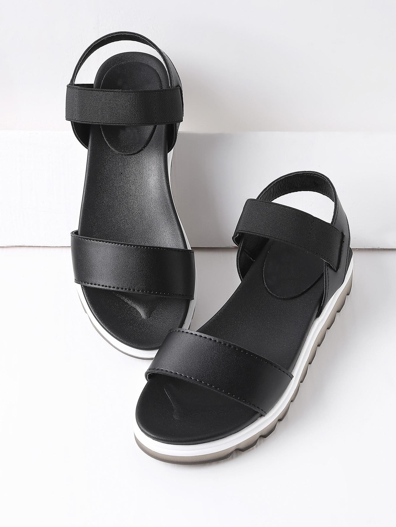 Фото Black Contrast Sole Flatform Sandals. Купить с доставкой