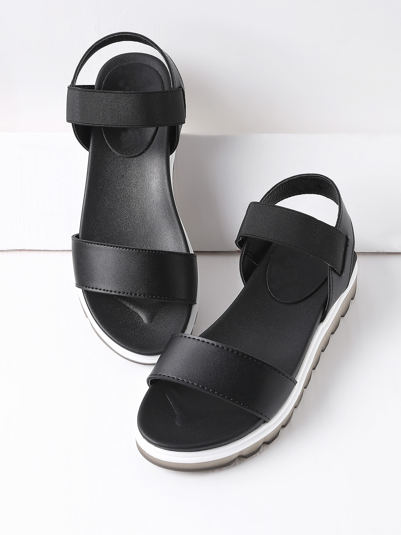Image of Black Contrast Sole Flatform Sandals