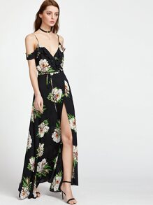 Botanical Print Ruffle Drape Cold Shoulder Wrap Dress
