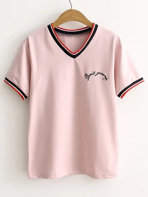 Pink Letter Embroidery Striped Trim T-Shirt tee170318201