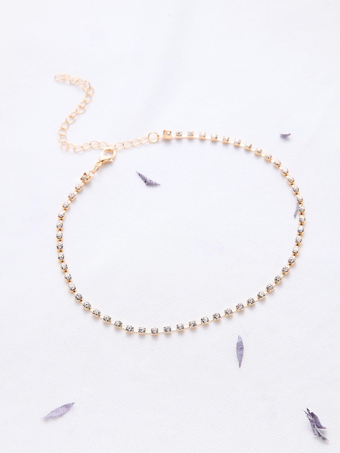 Фото Gold Rhinestone Delicate Choker Necklace. Купить с доставкой