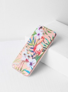 Flamingo And Leaf Print Clear iPhone 6/6s Case