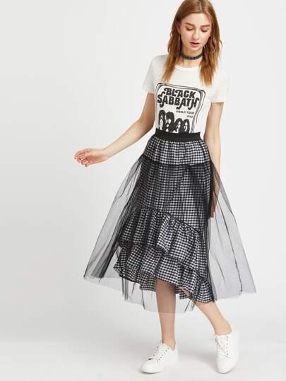 Gingham Tiered Mesh Overlay Skirt