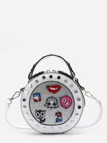 White Studded Trim Patch Detail Round Crossbody Bag