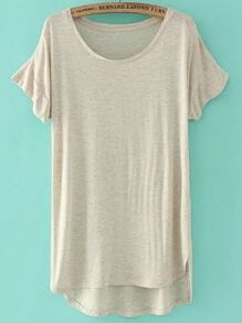Apricot Short Sleeve High Low T-shirt