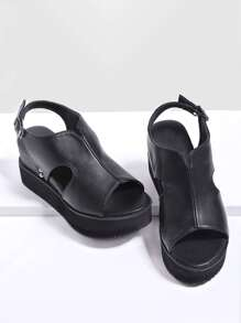 Sandalias con plataforma con correa trasera - negro