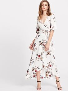 Floral Print Flutter Sleeve High Low Surplice Wrap Dress