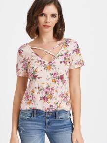 Crisscross V Neck Floral Print T-shirt