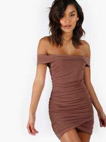 Off Shoulder Ruched Bodycon Dress MAUVE
