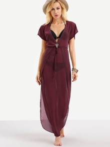 Plunge Neck Drawstring Waist Cover Up Dress