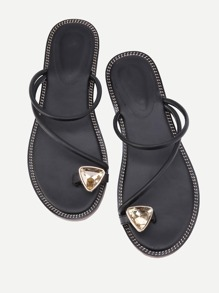 Rhinestone Toe Ring Sliders