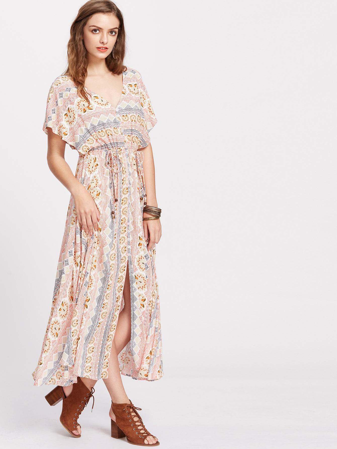 Фото Tribal Print V Back Drawstring Waist Slit Kimono Dress. Купить с доставкой