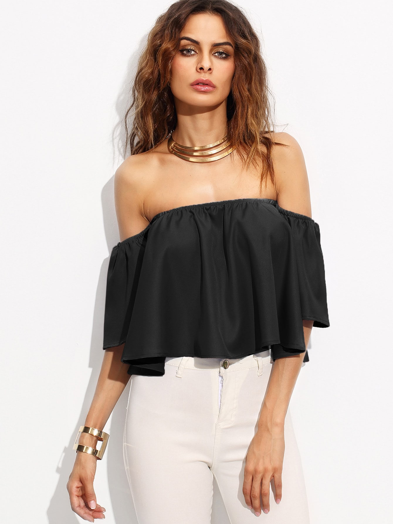 Off Shoulder Crop Top blouse170329101