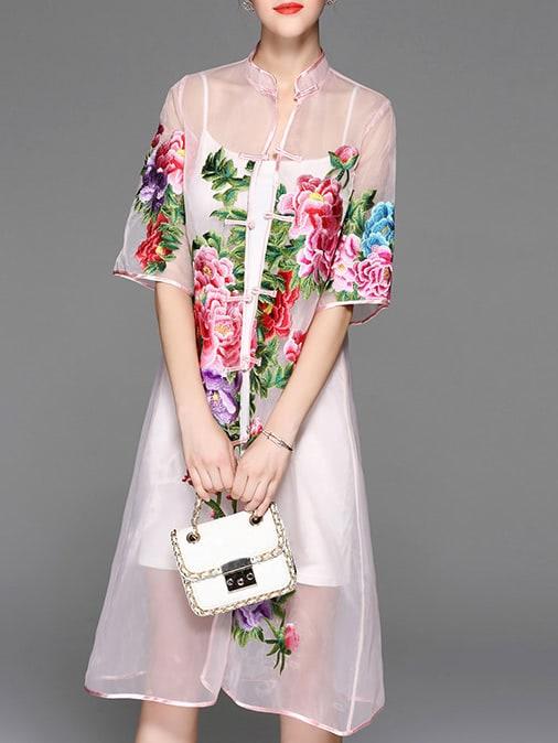 Фото Pink Sheer Flowers Embroidered Dress. Купить с доставкой