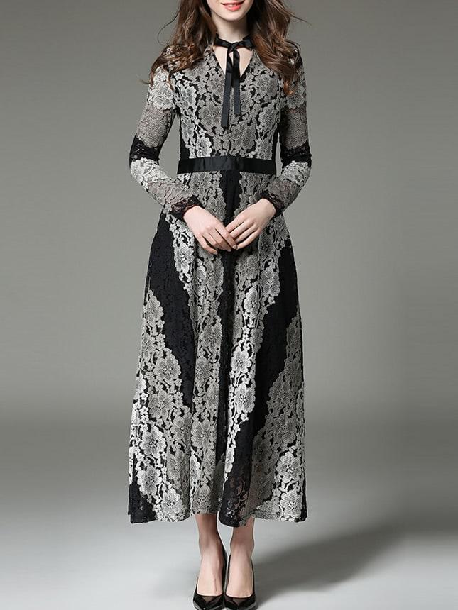 Grey Black Tie Neck Lace Maxi Dress black lace split joint maxi dress
