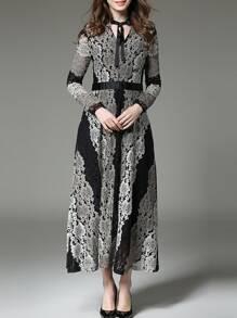 Vestido Maxi de encaje con cordón-gris y negro